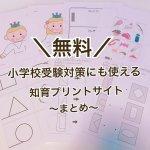 【まとめ】小学校受験対策にも使える!幼児向け無料知育プリント
